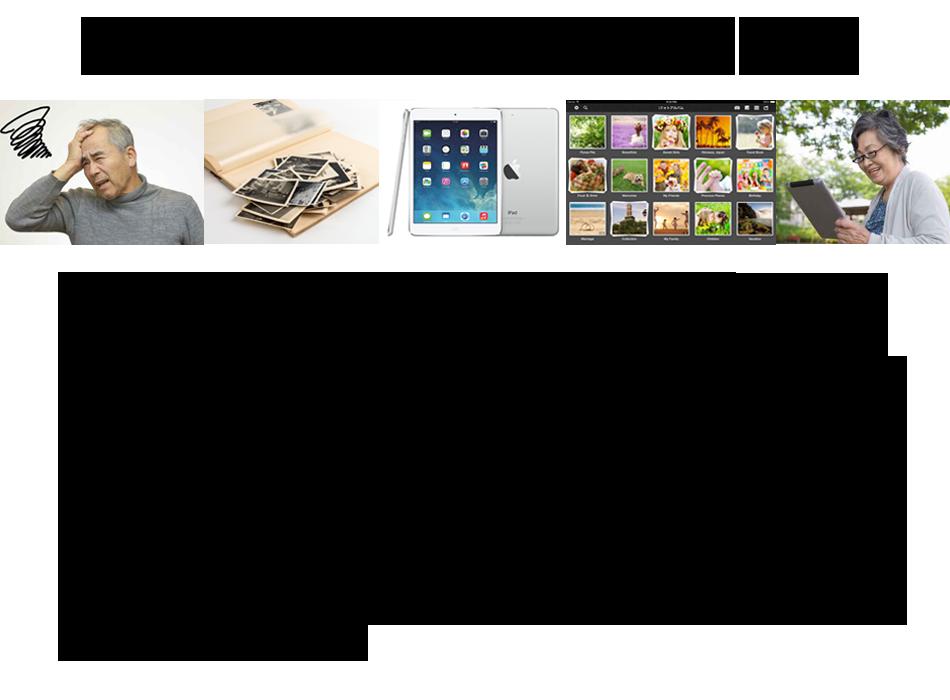 古い写真はデジタル化で解決 何十年も整理しないままに押入れの奥にしまい込んである、古い写真の束はありませんか?40歳以上の日本の家庭には約5,000枚のプリント写真があるそうです。もしかしたら、写真に変色や色あせが発生していませんか?最近は簡単に写真をデジタル化する方法があります。一旦パソコンやタブレットに保存しておけば、劣化や紛失を心配せずにいつでも整理を始めることができます。もし、色あせしてしまっても修正ソフトもありますので、復元が可能です。